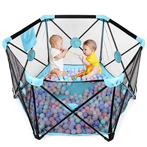 Hadwin Baby Playpen, Foldable and Portable Play Yard for Baby Toddlers, Activity Centre with Breathable Mesh and Storage Bag,Indoor&Outdoor Safe Playard, 6 Panel