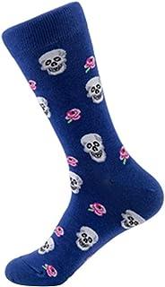Calcetines Transpirables de algodón Unisex de Halloween Calcetines Calavera Calcetines de Tubo (Azul)