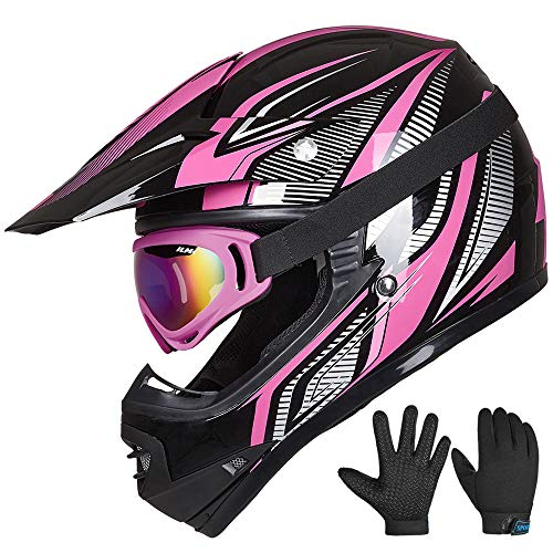 ILM Youth Kids ATV Motocross Helmet Goggles Sports Gloves Dirt Bike Motorcycle Off Road DOT Approved (Youth-L, Pink Black)