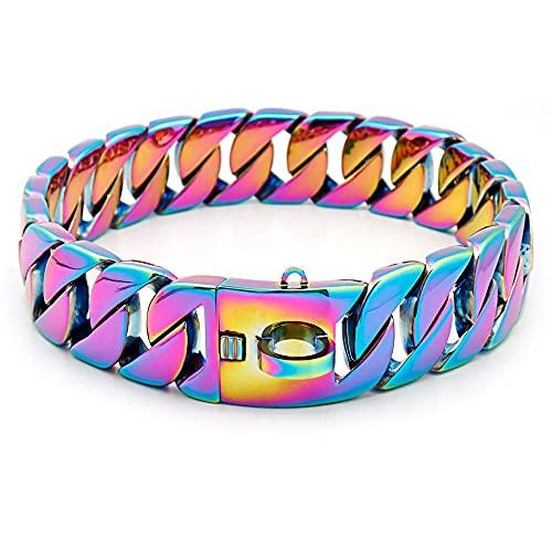 Collar De Cadena De Perros De Metal Fuerte, Collar De Estrangulador De Entrenamiento para Mascotas De Acero Inoxidable para Perros Grandes Pitbull Bulldog,Vistoso,55cm