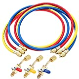 Refrigerant A/C Charging Hoses with Ball Valves, 3-Color 60' R134A HVAC 1/4' SAE 600-3000 PSI Working Pressure, Fit for R134A R12 R22 R502 R404 Coolant Adding and Air Condition Maintenance