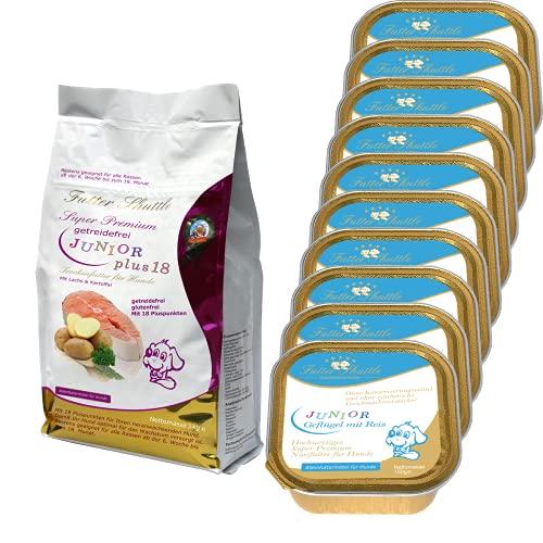Starterpaket Welpenfutter. Getreidefrei Plus 18. Getreidefreies Welpenfutter und Junior Hundefutter Trockenfutter der Extraklasse und Schalen Welpen Nassfutter