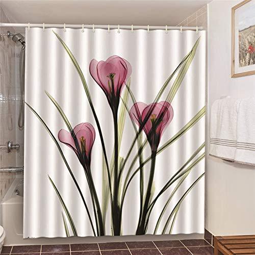 XCBN Póster de Tulipanes Cortinas de Ducha Tela Impermeable Pantallas Opacas de baño para decoración del hogar Cortina de baño con Ganchos A27 150x180cm