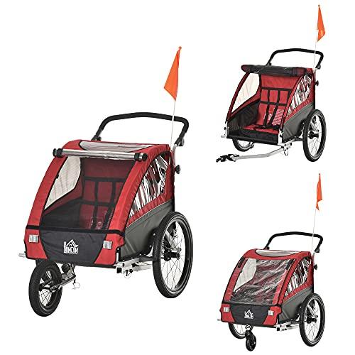HOMCOM 3 in 1 Kinderanhänger Aluminium Kinder Jogger Fahrradanhänger Radanhänger für 2 Kinder mit Schwingungsdämpfungssystem Aufbewahrungstasche verstellbarer Lenker Rot