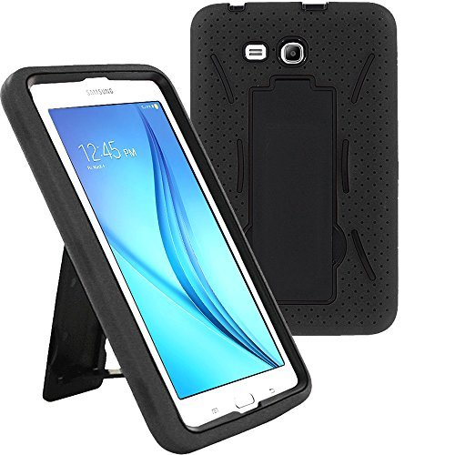 Galaxy Tab E 7.0 Lite Case SM-T113, KIQ Shockproof Heavy Duty Case, Kickstand, Screen Protector Cover, for Samsung Galaxy Tab E 7.0' / Tab 3 Lite 7-inch T110/T113/T116/T111 (Hybrid Black/Black)