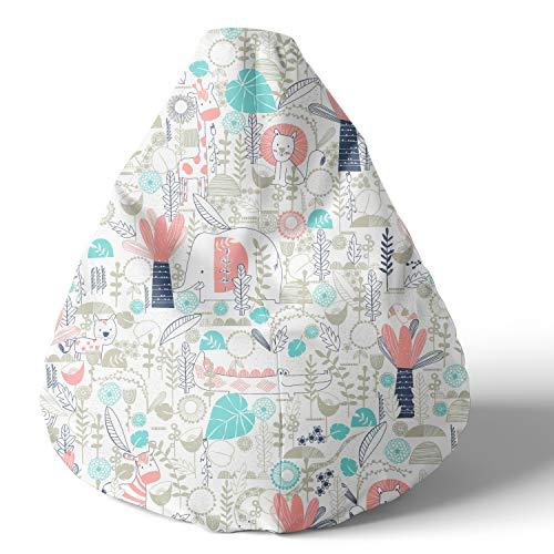 joyfill Sitzsack mit Bezug, Stuhl für Kinder und Erwachsene, Weicher Stoff, 240L (5060 Vibrant Safari)
