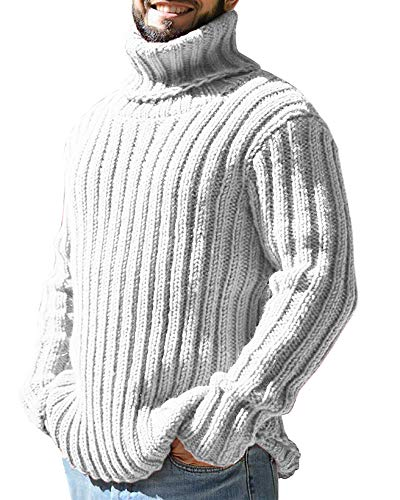 Ryannology Mens Thick Loose Fit Turtleneck Sweater Ribbed Cable Knit Pullover Sweater Jumper White