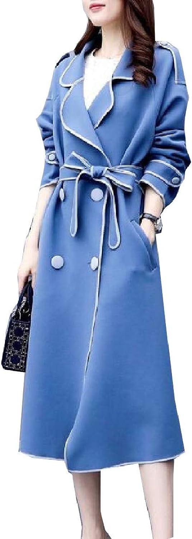 Qiangjinjiu Women's Coats Long Sleeve Jacket Trench Coats with Belt