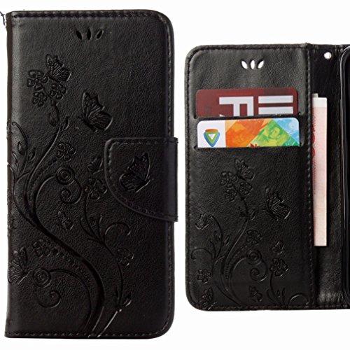 Ougger Handyhülle für Sony Xperia E5 Hülle Tasche, Flower Butterfly BriefHülle Tasche Schale Schutzhülle Leder Weich Magnetisch Stehen Silikon Cover mit Kartenslot (Schwarz)