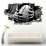 Stickers Muraux 3D PVC Autocollant Mural Autocollant pour Fenêtre Chambre Salon Bureau Decoration Ballon de rugby 60x90cm