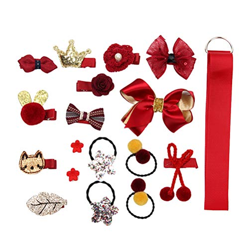 TENDYCOCO 18pcs Baby Girl's Hair Accessories Hair Clips Ties Ribbons and Bows for Daily Use Custome Play with Gift Box (Red)
