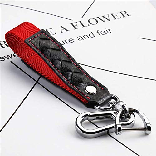 JVCV® Car Keychain Accessories with Alloy Metal and Braided Leather Horseshoe Buckle Key Organiser for Men and Women (Red)