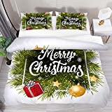 3 Pieces Duvet Cover Sets Merry Chrismas Lettering Soft Tencel Bedding Sets for Kids Boys Girls Comforter Cover with 2 Pillow Shams Zipper Closure,No Comforter