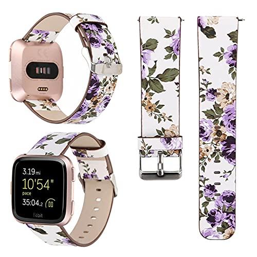 LEUYI Correa compatible con Fitbit Versa/Versa 2 / Versa Lite/Versa SE Correas de muñeca de cuero PU rosa pintada para mujeres niñas - flor púrpura