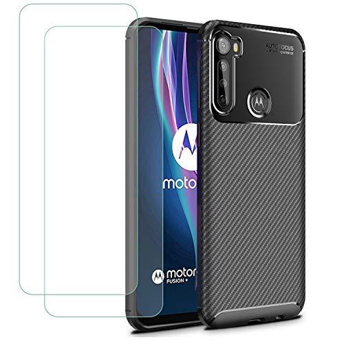 TLING - Cover per Motorola One Fusion Plus + vetro temperato, in silicone TPU, antiurto, per Motorola One Fusion Plus, colore: Nero