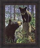 Home Cabin Décor Stump Jumper by Bruce Miller 20x24 Black Bear Mama Cub Woods Framed Art Print Picture