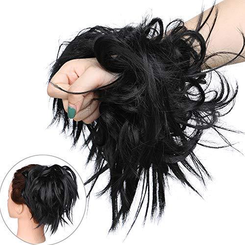 Haar Extensions Haarverlängerung Haarteil Dutt Haargummi Hochsteckfrisuren wie Echthaar 45 G Schwarz-1