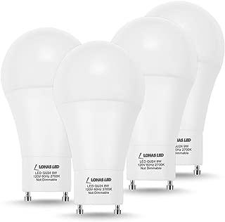 LOHAS GU24 Bulb, A19 LED Light Bulb GU24 Base, 60 Watt Equivalent(9W LED), Warm White Lighting 2700K, 810LM LED Lamp, 240 Degree Beam Angle, Replace CFL Light(4 Pack)