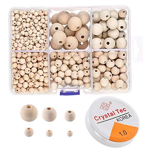1105 Stück Holz perlen Set natürliche Runde Holz Perlen Set und unvollendete Holz Perlen mit 1 Rolle Kristall elastische Linie 6 Größen (6 mm - 20 mm) Boxed Holz Perlen für DIY Schmuck Handwerk machen