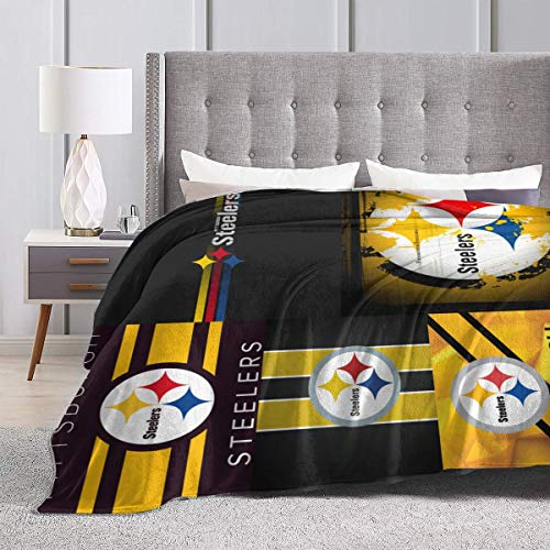 Fremont Die Pittsburgh Steelers Ultra-Soft Blanket Microfiber Light Comfortable Flannel Warm Winter Blanket,Home Sofa Bedding Evening Bedroom Living Room-Suitable for Adults/Pets/Babies 80'' X60