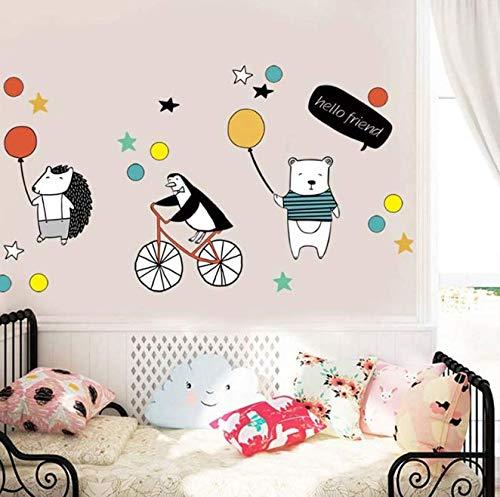 Cute Bear Hedgehog Penguin And Balloon Wall Stickers Cartoon Animal Wall Decal for Kids Rooms Bedroom Nursery Home Decor