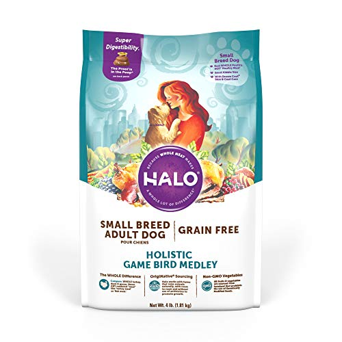 Halo Grain Free Natural Dry Dog Food, Small Breed Game Bird Medley, 4-Pound Bag