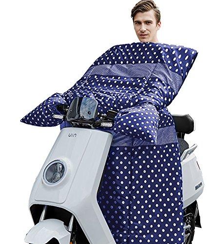 Icegrey Tupfen Blau Beinabdeckung Beinschutz Mit Fleece Gefütterte Motorradlenker-Stulpen Handschuhe für Roller und Motorrad Wetterschutz Nässeschutz für Rollerfahrer