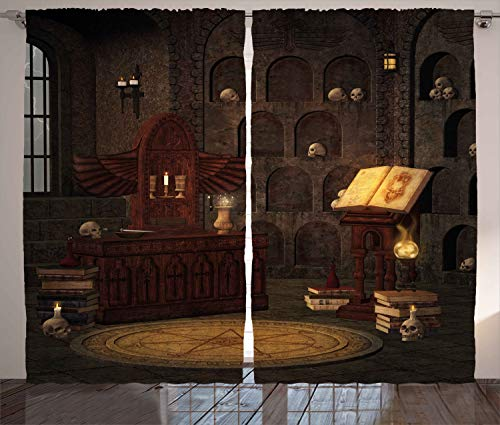 Ambesonne Gothic Curtains, Chamber of Secret Rite with Skulls on The Wall Sorcery Spell Image Print, Living Room Bedroom Window Drapes 2 Panel Set, 108' X 96', Brunette Brown