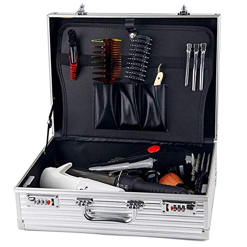 Caja de herramientas para barbero, maleta de almacenamiento, maletín de vuelo de aluminio, caja de herramientas, organizador de herramientas, caja de almacenamiento con cerradura, 2 cerraduras de