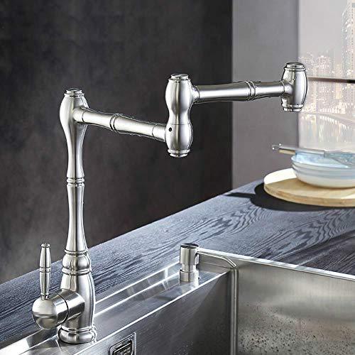 Latón grifo de la cocina de articulación Pot Filler doble articulación y 360 grados de rotación aireador de montaje en pared Grifería BL1721N