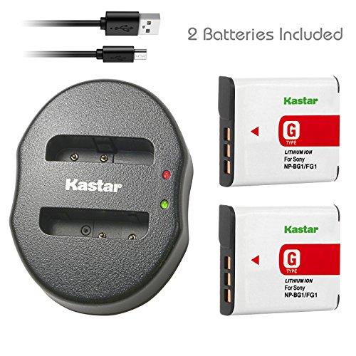 Kastar Battery (X2) & Dual USB Charger for Sony NP-BG1 NPBG1 NP-FG1 NPFG1 and Cyber-shot DSC-W120 W150 W220 DSC-H3 H7 H9 H10 H20 DSC-H50 DSC-H55 DSC-H70 DSC-HX5V DSC-HX7V DSC-HX9V DSC-HX10V DSC-HX30V