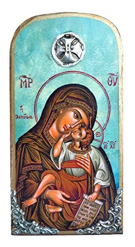 OP10 Holz-Ikone der Jungfrau Maria Mutter Jesus, griechisch-christlich-orthodoxe Holzikone