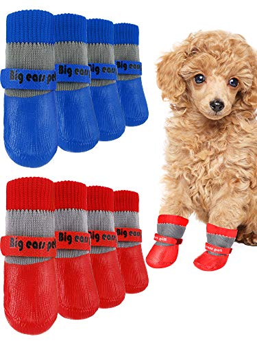 Weewooday 8 Pieces Dog Socks Non Slip Paw Protector Waterproof Pet Sock with Straps Rubber Sole Grippers Outdoor Dog Socks Boots for Hardwood Floors Small Medium Dogs Cats (Red, Blue,Medium)