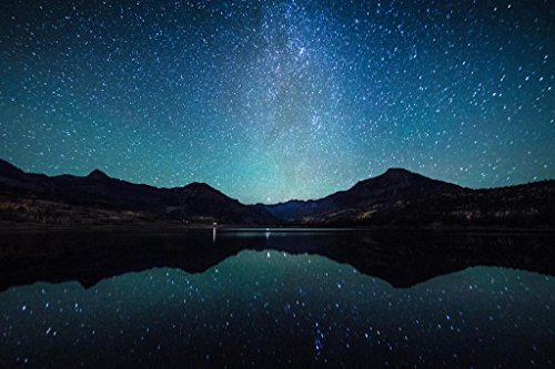 Poster Foundry Starry Night Sky Milky Way Reflection Water Landscape Artistic Photo Stretched Canvas Wall Art 16x24 inch
