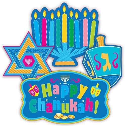 Izzy 'n' Dizzy Hanukkah Cutouts - 30 Piece Chanukah Window Decorations - Hanukkah Décor - Holiday Party Decoration