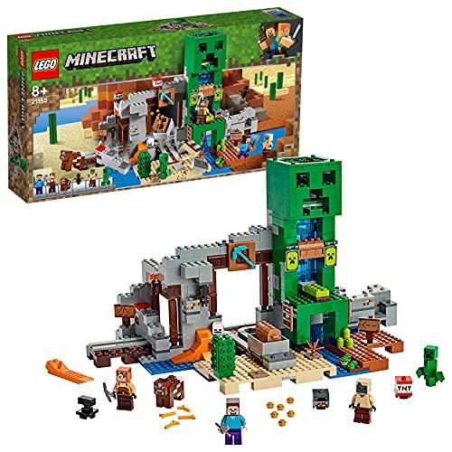 Include 3 minifigure: Steve, il fabbro Minecraft - novità di agosto 2019 - e uno Zombie secco, oltre a un Creeper, una mucca e pipistrelli Contiene una miniera con binario ferroviario, carrello da miniera e 3 funzioni esplosive; un rifugio con una gr...