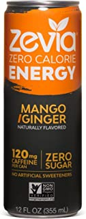 Zevia Zero-Calorie, Naturally Sweetened Energy Drink, Mango Ginger, 12 Ounce (Pack of 12) Packaging May Vary