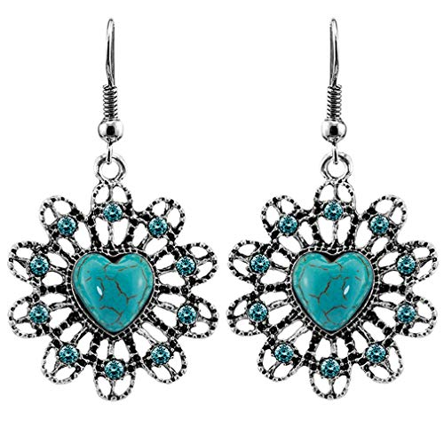 YAZILIND estilo bohemio turquesa pendientes FishHook mujer oreja joyería regalo de cumpleaños #1