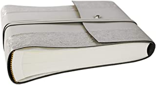 LEATHERKIND Angelus Recycled Leather Photo Album Silver, Small Classic Style Pages - Handmade in Italy