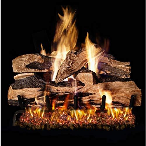 Peterson Real Fyre 24-inch Split Oak Designer Plus Log Set With Vented Natural Gas G45 Burner - Match Light