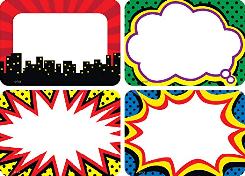 Teacher Created Resources Superhero Name Tags/Labels, Multi-Pack (5587), 3-1/2 x 2-1/2 in,Multicolor.