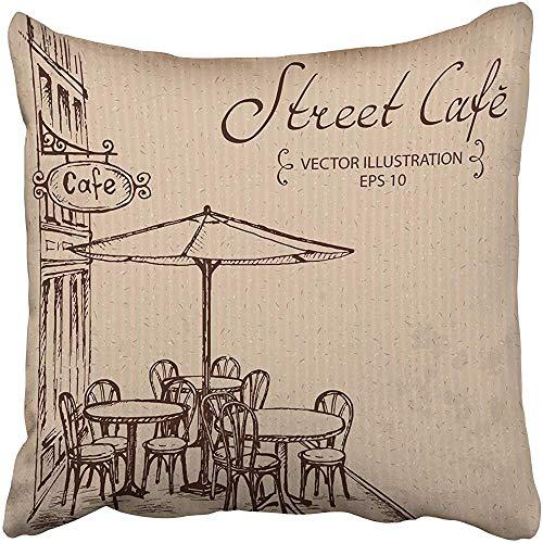 SSHELEY Kissenbezüge Fällen Kaffee Französisch Street Cafe Hand gezeichnete Skizze Tabelle Bistro Restaurant Stuhl Linie Kissenbezüge Fall Abdeckung Kissen