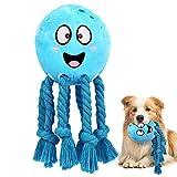 Pawaboo Juguete Interactivo para Mascotas, Juguete para Dentición del Perro Chillón, Juguete de Peluche de Pulpos Especialmente Diseñado para Perros Pequeños y Pedianos - Azul
