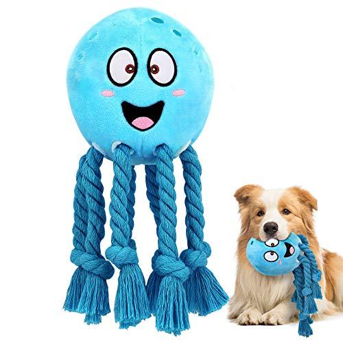 Pawaboo Plüschspielzeug für Hund, Krake Plüsch Hundespielzeug Interaktiv Spielzeug mit Quietscher Baumwollseil Fangarm, Weich Haltbar für Mittelgroße Kleine Hunde Katzen Beißen Spielen - Blau