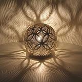 Orientalische Stehlampe ägyptische Bodenleuchte Luxor D22 H 22 cm Silber Kugel aus Messing echt...