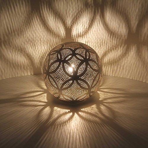 Orientalische Stehlampe ägyptische Bodenleuchte Luxor D22 H 22 cm Silber Kugel aus Messing echt vesilbert | Handmade Messing-Lampe für tolle Lichteffekte wie aus 1001 Nacht | ESL2040