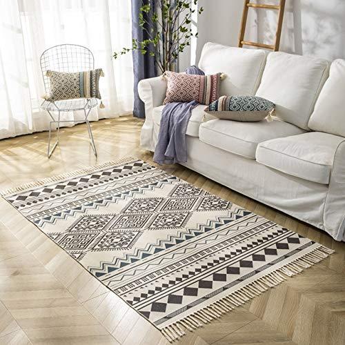 Alfombra bohemia vintage de algodón y lino con borlas para el suelo del dormitorio, de la mesita de noche, de salón, sofá, de mesa de café, lavable a máquina, 1200 mm x 1700 mm