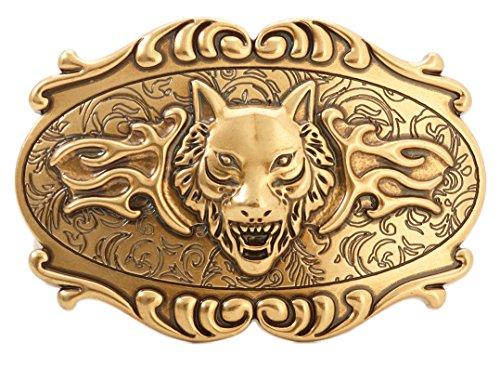 Gurscour Western Fashion Antique Engrave Flower Vintage Brass 3D Wolf Belt Buckles
