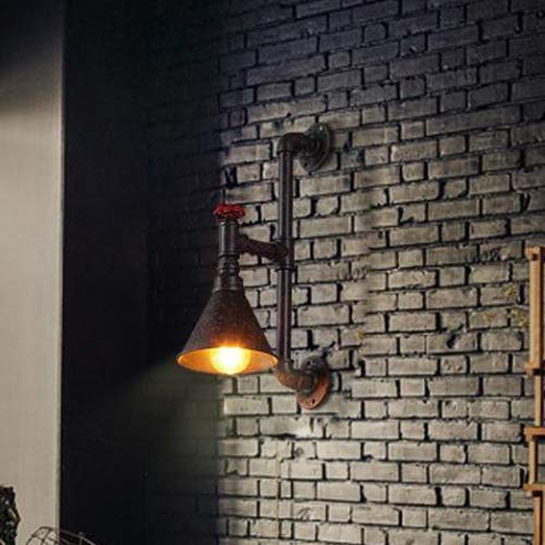 Pointhx Tubo de agua de pared, 1 luz, lámpara de pared industrial, lámpara de pared para dormitorio, lámpara de lectura, vintage, industrial, Edison Sconce, dispositivos de iluminación, 1 luz