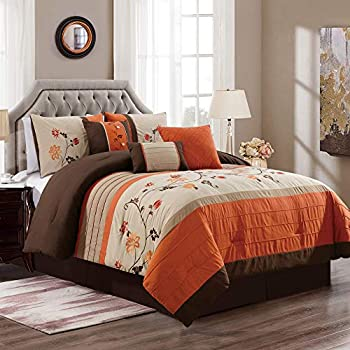 Chezmoi Collection 7-Piece Embroidered Floral Scroll Pleated Orange/Chocolate/Taupe/Tan Bedding Comforter Set  90 x 92  Queen
